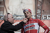 Jurgen Roelandts (BEL/Lotto-Soudal) interviewed at the sign-on podium<br /> <br /> 108th Milano - Sanremo 2017