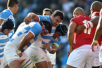 Agustin Creevy and the Argentina front row pack down for a scrum. Rugby World Cup Pool C match between Argentina and Tonga on October 4, 2015 at Leicester City Stadium in Leicester, England. Photo by: Patrick Khachfe / Onside Images