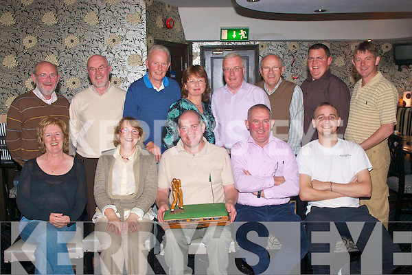 Tee off.-------.Vale Golf Society had their final outing in Castlegregory golf course last Saturday and after went to the Brogue,Rock St Tralee for the prizegiving,seated L-R Kay Fitzgerald,Annette McAuliffe,Eddie Sheehy(holding the Bob Casey Memorial trophy)James Crean and Brian O'Shea,back,L-R Harold Behan,Colm O'Conchubhair,Christy Murrey,Cathrine Twomey,Joe Clifford,Tony Lyons,Alan O'Connor and Junior Locke..------------------------------------------------