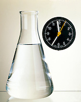 IODINE CLOCK REACTION.Beginning.Clear solution in flask is .04M KIO3 w/water to which was added .02M H2SO3 & starch. Au recipe is 4-12 ml KIO3 w/H2O added to make 120ml +4-12 ml H2SO3 & starch