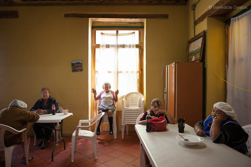 Lunch time at Casa Xochiquetzal in Mexico City, Mexico on October 4, 2010. Casa Xochiquetzal is a shelter for elderly sex workers in Mexico City. It gives the women refuge, food, health services, a space to learn about their human rights and courses to help them rediscover their self-confidence and deal with traumatic aspects of their lives. Casa Xochiquetzal provides a space to age with dignity for a group of vulnerable women who are often invisible to society at large. It is the only such shelter existing in Latin America. Photo by Bénédicte Desrus