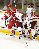 Holly Lorms (BU - 8), Ashley Motherwell (BC - 18), Kelli Stack (BC - 16) - The visiting Boston University Terriers defeated the Boston College Eagles 1-0 on Sunday, November 21, 2010, at Conte Forum in Chestnut Hill, Massachusetts.