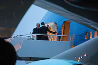 United States President Barack Obama (R) and former US President Bill Clinton (L) walk off Air Force One upon their returns to Andrews Air Force Base form Israel, where they attended the funeral of Shimon Peres, in Maryland, USA, 30 September 2016.<br /> Credit: Jim LoScalzo / Pool via CNP /MediaPunch