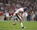 Ole Miss wide receiver Markeith Summers (16) drops a pass at Bryant-Denny Stadium in Tuscaloosa, Ala.  on Saturday, October 16, 2010. Alabama won 23-10.
