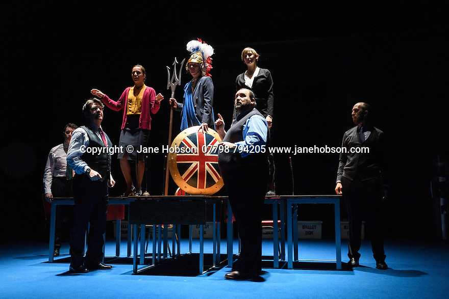 """The National Theatre presents """"My Country; a work in progress"""", in the words of people across the UK and Carol Ann Duffy, in the Dorfman. Rufus Norris directs. Design is by Katrina Lindsay, lighting design by Paul Knott. Picture shows: Cavan Clarke, Stuart McQuarrie, Seema Bowri, Penny Layden, Laura Elphinstone, Christian Patterson, Adam Ewan."""