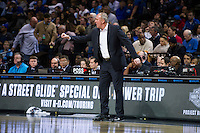 BROOKLYN, NY - Saturday December 19, 2015: Ohio State University Head Coach Thad Matta talks to his players as his Buckeyes take on the Kentucky Wildcats in the CBS Classic at Barclays Center in Brooklyn, New York.