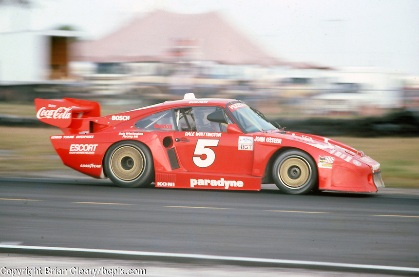The #5 Bob Akin Motor Racing Porsche 935K3 of Bob Akin, Dale Whittington and John O'Steen races to a 2nd place finish at the 12 Hours of Sebring endurance sports car race, March 19, 1983. (Photo by Brian Cleary/www.bcpix.com)