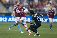 Stephen Ireland of Aston Villa clears the ball away from Carlos Valdes of the Philadelphia Union during a match between Aston Villa FC and Philadelphia Union at PPL Park in Chester, Pennsylvania, USA on Wednesday July 18, 2012. (photo - Mat Boyle)