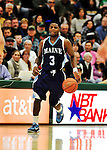 16 January 2012: University of Maine Black Bears' guard Raheem Singleton, a Senior from Boston, MA, in action against the University of Vermont Catamounts at Patrick Gymnasium in Burlington, Vermont. The Catamounts defeated the Black Bears 79-65. Mandatory Credit: Ed Wolfstein Photo