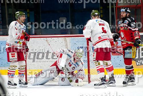 28.12.2015, Ice Rink, Znojmo, CZE, EBEL, HC Orli Znojmo vs HCB Suedtirol, 36. Runde, im Bild v.l. Sean McMonagle (HCB Sudtirol) Jaroslav Hubl (HCB Sudtirol) Marco Insam (HCB Sudtirol) Jan Lattner (HC Orli Znojmo) // during the Erste Bank Icehockey League 36nd round match between HC Orli Znojmo and HCB Suedtirol at the Ice Rink in Znojmo, Czech Republic on 2015/12/28. EXPA Pictures © 2015, PhotoCredit: EXPA/ Rostislav Pfeffer