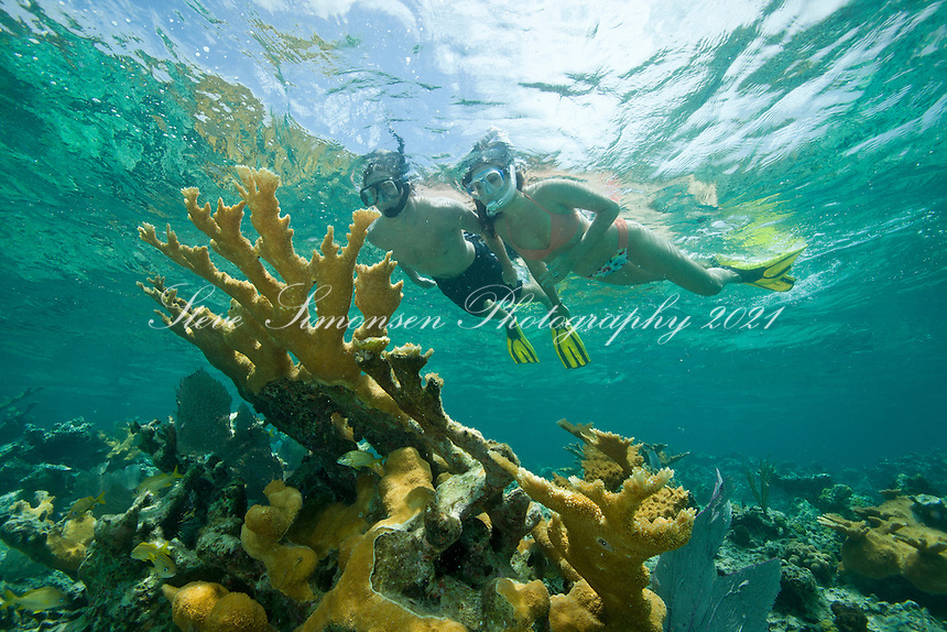 Natalie and Matt snorkeling Hawksnest Bay<br /> Virgin Islands National Park<br /> St. John<br /> U.S. Virgin Islands