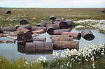 Rusting barrels near the Jago River delta illustrate man's careless disregard for nature.