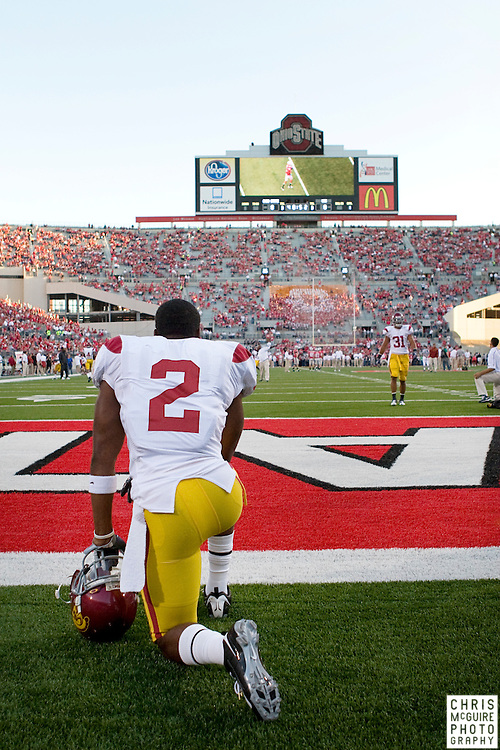 12 September 2009:  Football -- USC running back C.J. Gable enters the field before their game against Ohio State at Ohio Stadium in Columbus.  USC won 18-15.  Photo by Christopher McGuire.