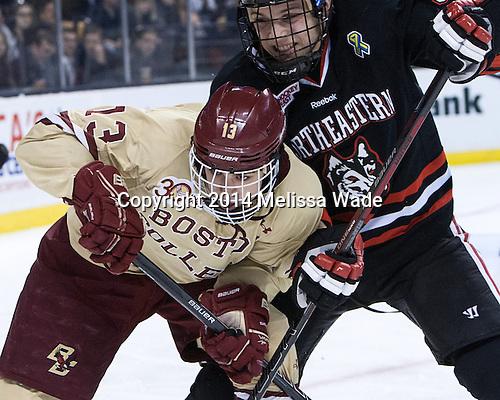 Johnny Gaudreau (BC - 13), Matt Benning (NU - 5) - The Boston College Eagles defeated the Northeastern University Huskies 4-1 (EN) on Monday, February 10, 2014, in the 2014 Beanpot Championship game at TD Garden in Boston, Massachusetts.