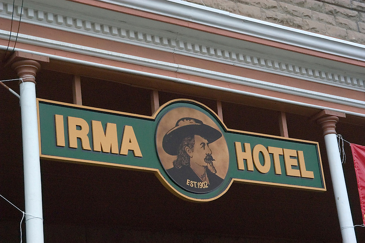 WY: Wyoming, Cody: Buffalo Bill's Hotel, the Irma...Photo #: yellow508..Photo copyright Lee Foster, 510/549-2202, lee@fostertravel.com, www.fostertravel.com..
