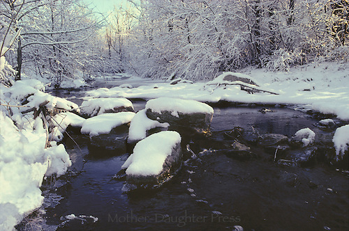 Snowy Flat Branch creek with ice beginning to melt and the water runs with afternoon light