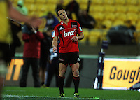 Dan Carter watches a penalty attempt. Super 15 rugby match - Crusaders v Hurricanes at Westpac Stadium, Wellington, New Zealand on Saturday, 18 June 2011. Photo: Dave Lintott / lintottphoto.co.nz