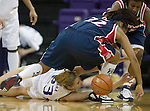 Washington's Maggie O'Hara (23) battles a loose ball with Arizona's Che Oh (22) and Joy Hollingsworth ,back, during second half action in women's college basketball, Thursday, Jan.26 , 2006 in Seattle. Washington beat Arizona 91-73. (AP Photo/Jim Bryant)