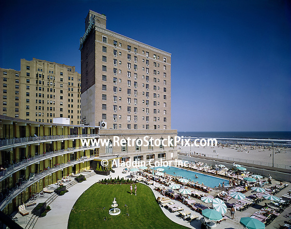 Deauville Hotel Atlantic City, NJ. Large courtyard and pool that overlooks the ocean. 1960's.