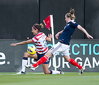 Christen Press, Hayley Lauder.  The USWNT defeated Scotland, 4-1, during a friendly at EverBank Field in Jacksonville, Florida.
