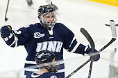 Justin Agosta (UNH - 12) celebrates Silenga's goal. Agosta earned the primary assist. - The Boston College Eagles defeated the visiting University of New Hampshire Wildcats 6-2 on Friday, December 6, 2013, at Kelley Rink in Conte Forum in Chestnut Hill, Massachusetts.