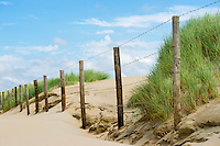 dunes behind barbed wire fences