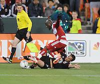 D.C. United midfielder Danny Cruz (2) goes against FC Dallas defender Jair Benitez (5) D.C. United defeated FC Dallas 4-1 at RFK Stadium, Friday March 30, 2012.
