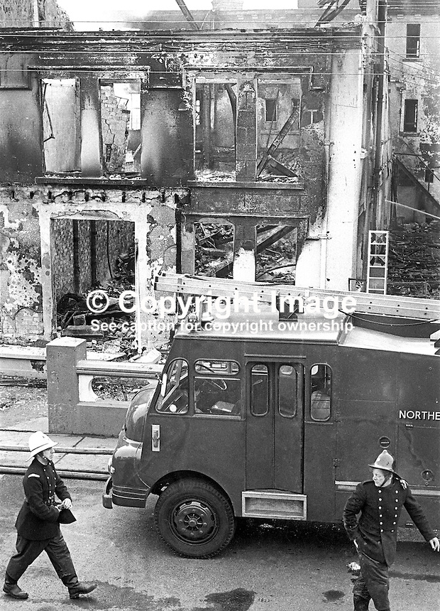 Firemen were still at the Royal Hotel, Whitehead, the morning after its owner, Larry McMahon, Newtownabbey, Co Antrim, married, 4 children, Roman Catholic, was murdered at his Newtownabbey home by the UVF, Ulster Volunteer Force, a loyalist paramilitary organization, on 15th March 1973. An explosive device detonated killing him instantly when he went to investigate a noise at his front door at 21.45. His wife and some of his children were also injured. Mr McMahon's success was a rags to riches story. He started off as a barman and ended up owning the Royal Hotel in Whitehead and a chain of betting shops as well as three pubs. 197303150134g<br />