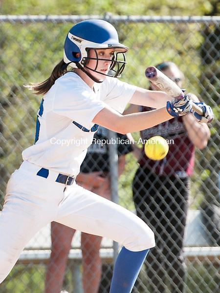 SOUTHINGTON, CT-7 May 2015-050715EC02-  Southington's Emily Lippincott bunts against Torrington Thursday in Southington. Erin Covey Republican-American