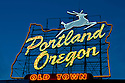 Portland, Oregon sign at dusk; Old Town Portland.