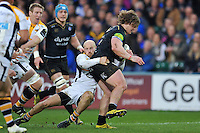 Nick Auterac of Bath Rugby is tackled by Joe Simpson of Wasps. European Rugby Champions Cup match, between Bath Rugby and Wasps on December 19, 2015 at the Recreation Ground in Bath, England. Photo by: Patrick Khachfe / Onside Images