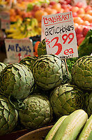 close up of artichokes at the seattle pike public market