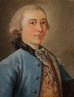 Portrait of the shipowner Jean Louis I de Baour, known as Alexis, 1750-1830, pastel drawing, 1764, by unknown artist, in the Duret collection in the Musee d'Aquitaine, Cours Pasteur, Bordeaux, Aquitaine, France. Jean Louis I de Baour was heir to an armaments trading company in Bordeaux founded in 1715, which developed important trade links with Santo Domingo in the West Indies. Picture by Manuel Cohen