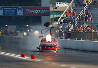 Sep 24, 2016; Madison, IL, USA; NHRA pro mod driver Billy Glidden suffers a nitrous explosion during the Midwest Nationals at Gateway Motorsports Park. Mandatory Credit: Mark J. Rebilas-USA TODAY Sports