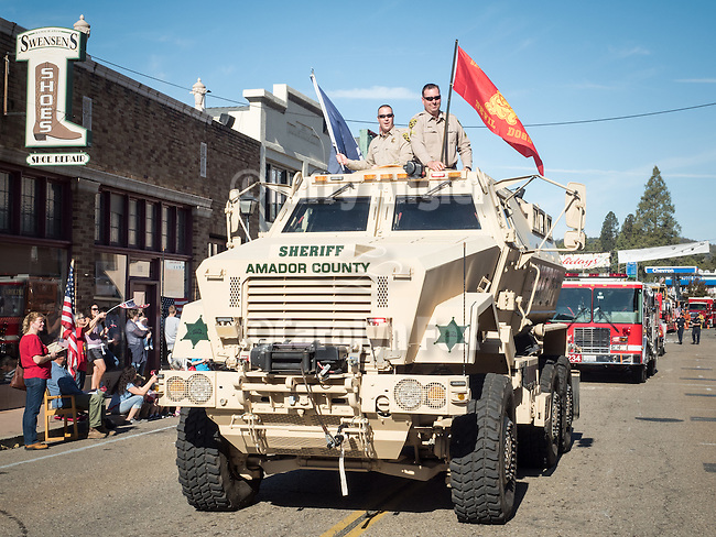 Eighth  annual Veterans Day Parade on historic Main Street in the Mother Lode community of Jackson, Calif. <br /> <br /> The parade was revitalized in 2009 by American Legion Post 108 of Amador County to celebrate the 80th anniversary of their founding and establishment of their Ambulance Service in Amador County in 1929. Post 108 is the only American Legion Post with such a service in the U.S.