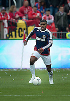 14 April 2012: Chivas USA defender Rauwshan McKenzie #4 in action during a game between Chivas USA and Toronto FC at BMO Field in Toronto..Chivas USA won 1-0.