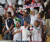 United States fans sing along to the American national anthem before the 2010 World Cup first round match between USA and England in Rustenberg, South Africa on Saturday, June 12, 2010.