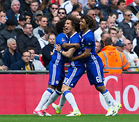 Chelsea's Willian (obscured left) celebrates scoring the opening goal with team mates David Luiz (centre) and Nathan Ake          <br /> <br /> <br /> Photographer Craig Mercer/CameraSport<br /> <br /> Emirates FA Cup Semi-Final - Chelsea v Tottenham Hotspur - Saturday 22nd April 2017 - Wembley Stadium - London<br />  <br /> World Copyright &copy; 2017 CameraSport. All rights reserved. 43 Linden Ave. Countesthorpe. Leicester. England. LE8 5PG - Tel: +44 (0) 116 277 4147 - admin@camerasport.com - www.camerasport.com