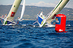 Depart de la WOW Cap Istanbul..Macif 79.Eric Peron.Macif 3.Francois Gabart