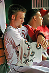 6 September 2011: Washington Nationals pitcher Stephen Strasburg in the dugout during play against the Los Angeles Dodgers at Nationals Park in Washington, District of Columbia. Strasburg struck out 4, and gave up 2 hits in 5 scoreless innings during his first Major League start since having Tommy John surgery last season. The Dodgers defeated the Nationals 7-3 to take the second game of their 4-game series. Mandatory Credit: Ed Wolfstein Photo