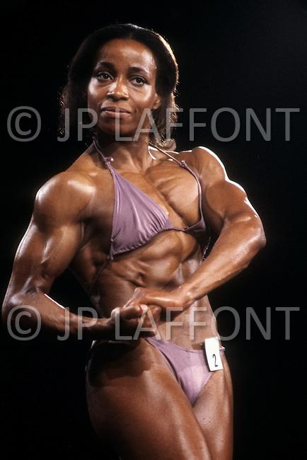 Atlantic City, April, 24, 1981. Carla Dunlap at the Women's World Bodybuilding Championships.