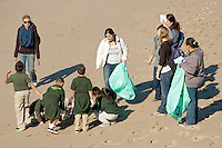 First grade students from KIPP (Knowledge Is Power Program) Raíces Academy pick up trash at Santa Monica Beach on Wednesday, December 7, 2011.