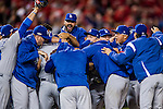 14 October 2016: The Los Angeles Dodgers celebrate on the field after winning the deciding NLDS Game 5 against the Washington Nationals at Nationals Park in Washington, DC. The Dodgers edged out the Nationals 4-3, to take Game 5, and the Series, 3 games to 2, moving on to the National League Championship against the Chicago Cubs. Mandatory Credit: Ed Wolfstein Photo *** RAW (NEF) Image File Available ***