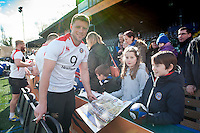 Rhys Priestland of Bath Rugby signs autographs for supporters after the session. Bath Rugby Captain's Run on February 19, 2016 at the Recreation Ground in Bath, England. Photo by: Patrick Khachfe / Onside Images