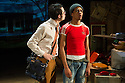 London, UK. 03.10.2014. Mountview Academy of Theatre Arts presents VERNON GOD LITTLE, at the Bridewell Theatre. Picture shows: Sacha Mandel (Lally) and Asan N'Jie (Vernon). Photograph © Jane Hobson.
