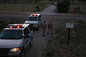 Willaims, Arizona.USA.August 9, 2004..State police block all roads for the Democratic presidentual nominee Sen. John Kerry and his wife Teresa on their campaign tour across America.