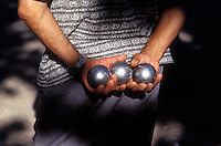 Provence, France - playing boules (petanque) during a contest in Rubion. Photograph by Owen Franken
