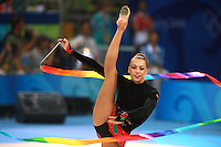 August 23, 2008; Beijing, China; Rhythmic gymnast Natalya Godunko of Ukraine turns pirouette with ribbon on way to 7th place in the All-Around final at 2008 Beijing Olympics..