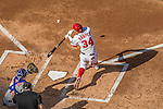 6 April 2015: Washington Nationals outfielder Bryce Harper connects one foul in the first inning of the Home Opening Game against the New York Mets at Nationals Park in Washington, DC. The Mets rallied to defeat the Nationals 3-1 in their first meeting of the 2015 MLB season. Mandatory Credit: Ed Wolfstein Photo *** RAW (NEF) Image File Available ***