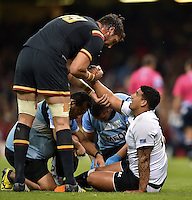 Luke Charteris of Wales commiserates with Josh Matavesi of Fiji after the match. Rugby World Cup Pool A match between Wales and Fiji on October 1, 2015 at the Millennium Stadium in Cardiff, Wales. Photo by: Patrick Khachfe / Onside Images